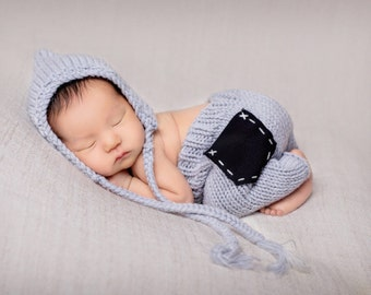 Stylish Newborn Set with Knit Hat and Pants, Newborn Photo Prop