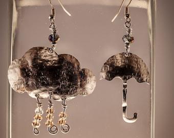Aluminium Cloud Rain Earrings