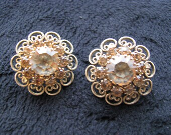 Filagree Clip-on Yellow Rhinestone Earrings, Vintage