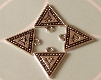 Triangle Charm, Antique Silver, 4 Pieces, AS453