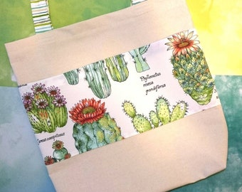 Cactus Canvas Tote Bag | cactus grocery bag, cactus shoulder bag, tote bag with pockets, large tote bag, book bag, cotton canvas tote bag