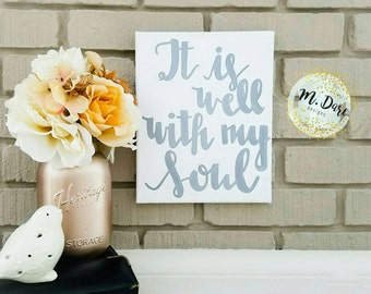 It Is Well With My Soul, Hand Painted, Acrylic Canvas, Hymn Wall Art, Hand Lettered, Scripture Art, Home Decor, Inspirational Quote, 11x14