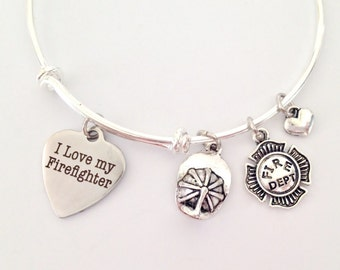 Firefighter Bangle Bracelet, Adjustable Expandable Bangle Bracelet, Fireman Charm Bracelet, Fireman Gift, Firefighter Gift, Firefighter Wife
