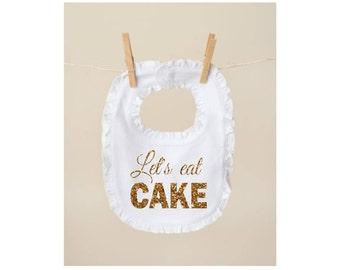 birthday bib 1st birthday bib smash cake bib let's eat cake bib gold glitter bib