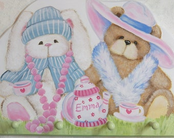 Bunny and Teddy  Bear Tea party Wall Hanging Coat Rack with 4 pegs Custom Designed