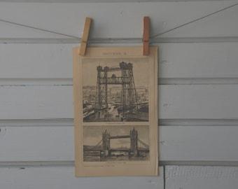 1894 Vintage Chicago Vertical Lift Bridge Lithograph Illustration