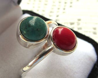 Sterling Silver Bypass Ring with Twin 8mm Round Cabochons of Turquoise and Red Coral