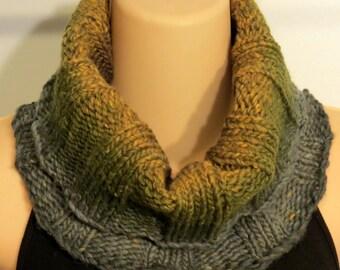 Hand Knit Wool Silk Cowl Scarf green brown yellow gray turtleneck