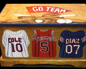 SPORTS JERSEY Toy Box Custom Designed with your sport, wooden hand-made and painted chest, kids furniture, personalized  name,  birth date