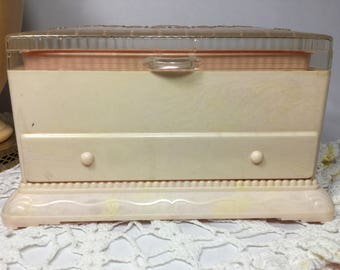 Plastic Jewelry Box By Hommer, Vintage Pink Jewelry Chest with Clear Top