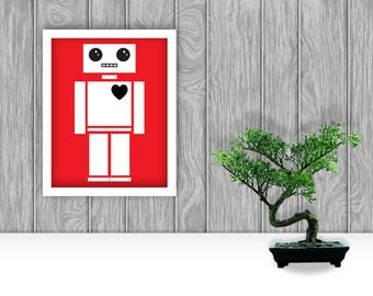 Robot Digital Art Print - Red
