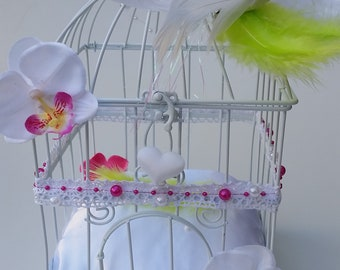 Urn decor pink & lime green bird cage Dove couple romantic, baptism, wedding, anniversary Whoopsidaisies Creation