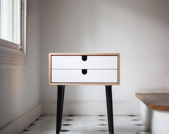 Wood nightstand / Bedside Table,  Scandinavian Mid-Century Modern Retro Style with 1 or 2 frame and legs made of oak wood
