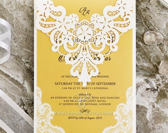 Classic Lace Embroidered Wedding Invitation - White - BW5190-DG