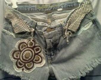 EASTER SALE...Flower Power Hippie cutoff shorts