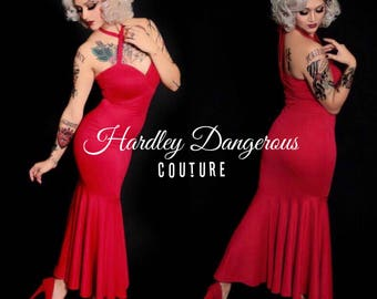 Sale! Made to Measure, Cherry Red Mermaid Evening Gown with Multiway Halter Straps Trumpet Hem, Sexy Fit n Flare Burlesque Pin Up Gown