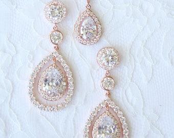 Pear Drop Earrings Bridal Earrings Rose Gold Cubic Zirconia Pear Drop Necklace Best Pear Drop Earrings