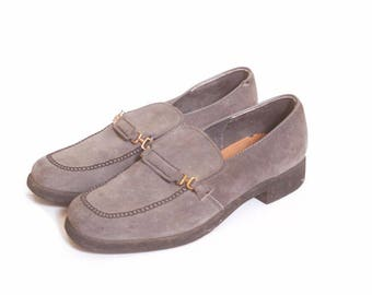 Vintage 1990s Mens Gray Suede Hush Puppies Loafers size 11