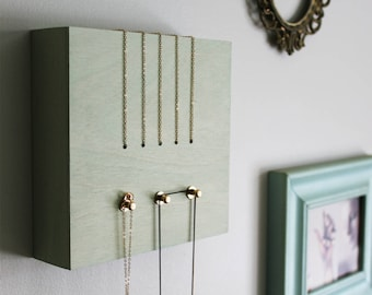 PERCH no1 MINT - necklace jewelry holder rack display organizer hanger wood frame wall home decor modern minimal brass gold metal green