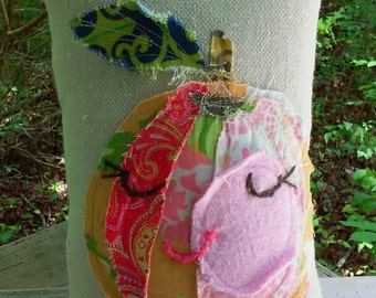 Weekend Special Raggy Applique Peach SMALL Pillow Ready to Ship YelliKelli