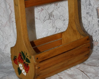 Vintage Wooden Basket with Strawberry Stencil
