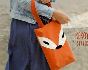 Tote Bag Sir Fox Orange Denim and Graphite Handmade Unique / MacBook 12 Bag MacBook Air 13 Bag MacBook Pro 13 Bag iPad Pro Bag