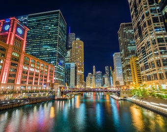 Colorful buildings along the Chicago River at night, in Chicago, Illinois. Photo Print, Metal, Canvas, Framed.