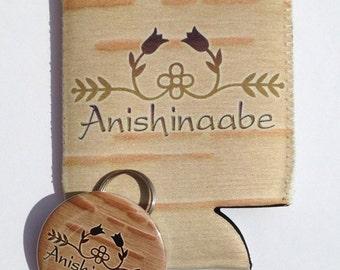 Birch bark Ojibwe style floral design Anishinaabe can and bottle hugger, beverage insulators with option of matching bottle opener keyring
