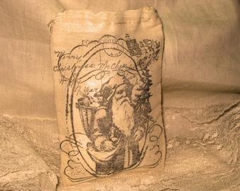 Vintage Christmas Hand Stamped  Muslin Gift Bag  Vintage Santa Tower ECS