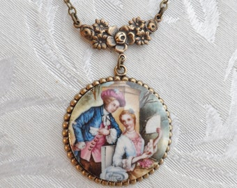 50% Off Porcelain Vintage Cameo Necklace