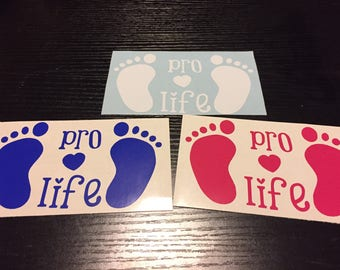Pro Life baby feet sticker/decal