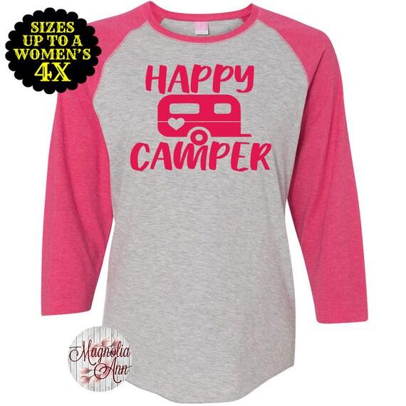 Happy Camper Shirt, Happy Camper Raglan, Camping Shirt, Plus Size Shirt, Plus Size Clothing, Plus Size T Shirt, Camping Gift, Baseball Tee