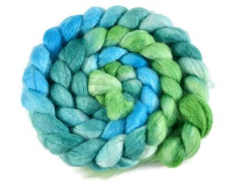 BFL Silk 4 oz hand dyed roving, Combed Top, Blue Faced Leicester spinning fiber, 75/25 BFL/Silk, aqua, green, lime, bfl roving - Jungle