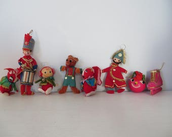 A Menagerie of Happy Vintage Felt Ornaments - Group of 8