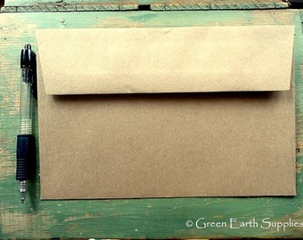 "100 A9 Kraft Envelopes: eco-friendly envelopes, recycled A9 envelopes, kraft brown, large rustic envelopes, 5 3/4"" x 8 3/4"" (146 x 222 mm)"