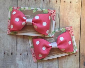 3 inch Polka Dot Mini Bows, Mini Bows, Pigtails
