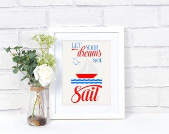 Boat Print - Boys Boat Giclee - Boat Wall Art - Boat Quote Art - Housewarming Gift - Boat Wall Art - Boys Nursery Wall Art