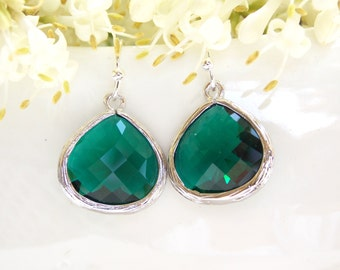 Wedding Jewelry, Emerald Earrings, Dark Green,Green, Silver, Bridesmaid Jewelry, Bridesmaid Earrings, Dangle, Drop, Wedding Gifts, Gift
