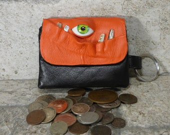 Zippered Coin Purse Orange Black Leather Change Purse Monster Face Pouch Key Ring 245