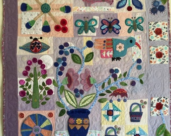 Quilted and Embellished Wool Wall Quilt