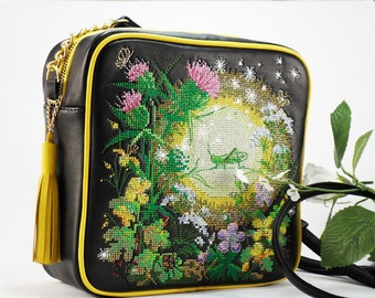 Embroidered Leather Bag Black leather bag  Embroidered bag  Embroidered shoulder bag  Bright bag with embroidery Black bag Square bag Youth