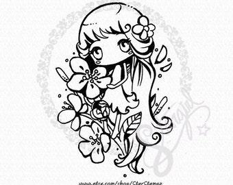 Spring Flower DIGITAL STAMP Instant Download