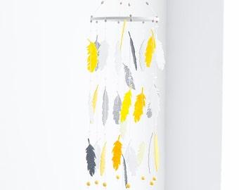 Yellow Gray Mobile - Dream Catcher Mobile - Feather Mobile - Baby Mobile - Yellow Gray Nursery Decor - Boho Nursery Decor - Baby Shower Gift
