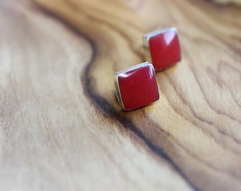 Red Coral Square Studs, Sterling Silver
