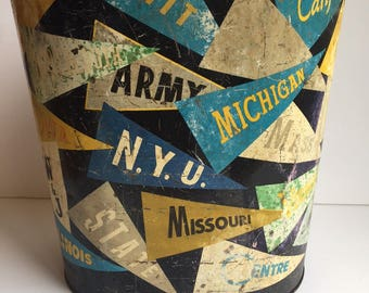College Pennant Trash Can