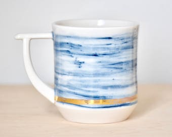 White and Brushed Navy Stained Mug with Gold Luster Accent