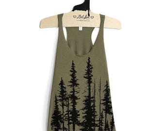 Large- Olive Tri-Blend  Racerback Tank with Evergreen Tree Screen Print
