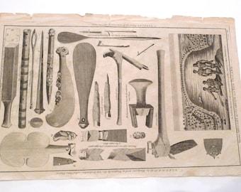 Maori Print Vintage 1700s Antique New Zealand Weapons Poster Art Alexander Hogg Engraving Tiki Kings Arms London Captain Cook 1700s Print