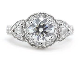 Three Stone Moissanite Engagement Ring Diamond Ring Trillion Side Stones - Lauren