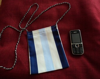 cotton case striped for phone with link to go over the shoulder cotton
